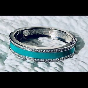 Ann Taylor Turquoise & Rhinestones Bangle Bracelet